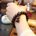 Ubeauty Hand carved real peach wood beads bracelet  Buddha bracelets for men women