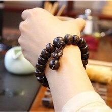 Ubeauty talladas A Mano real de cuentas de madera de melocotón pulsera de Buda pulseras para hombres mujeres
