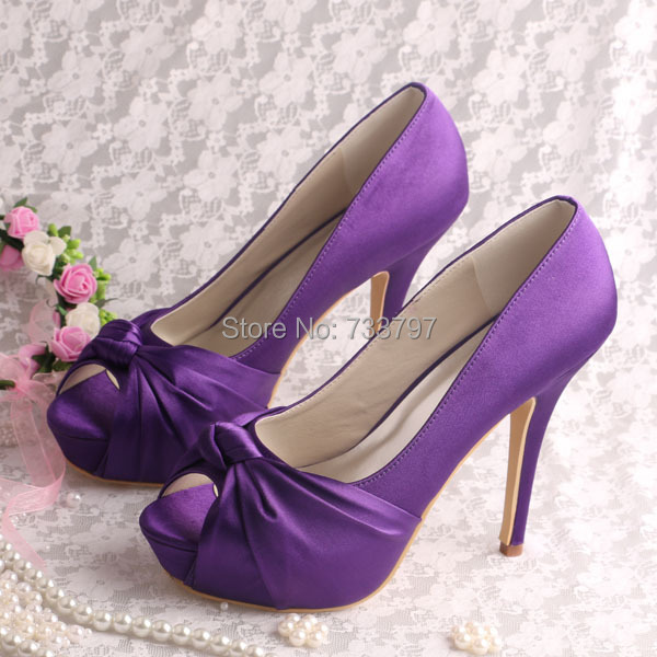 (20 Colors)Magic Custom Party Shoes Heels Platform Pumps for Women Wedding Purple