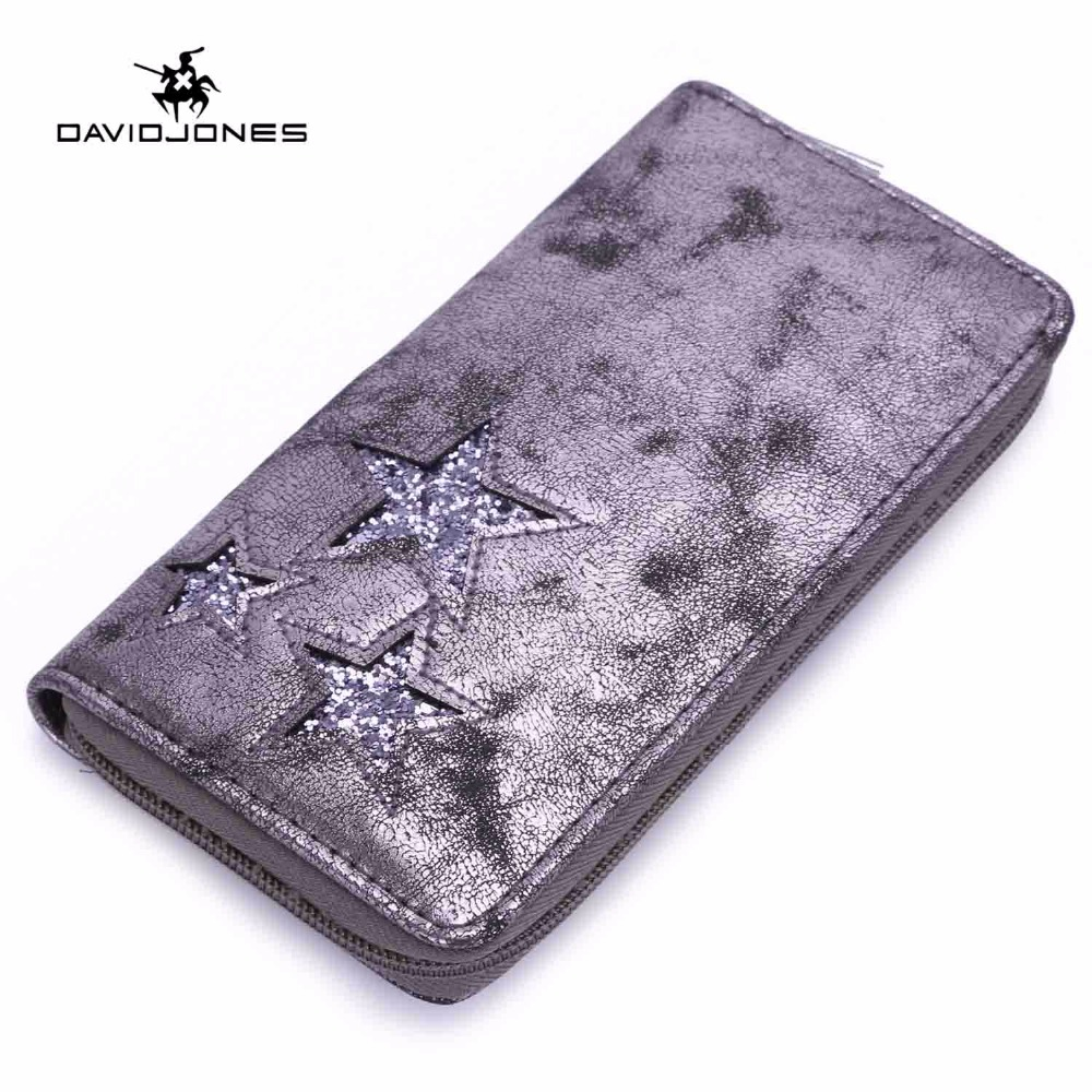 DAVIDJONES Women Wallets Long Wallets Fashion Women Wallet Leather 2018 Brand Clutch Bags Zipper Fashion Feminina Phone Bag