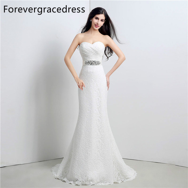 914db2bf68 Forevergracedress Elegant Long Wedding Dress Mermaid Sweetheart Crystal  Lace Up Back Bridal Gown Plus Size Custom Made
