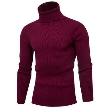 06ce6113aeac Мужская водолазка Твердые цветной трикотаж Новая мода Красивый пуловер  Вертикальная База базовый Повседневный свитер