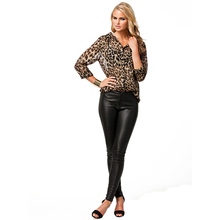 New Arrival Women Sexy Fashion Long Sleeve Leopard Print Chiffon Casual Top Blouse