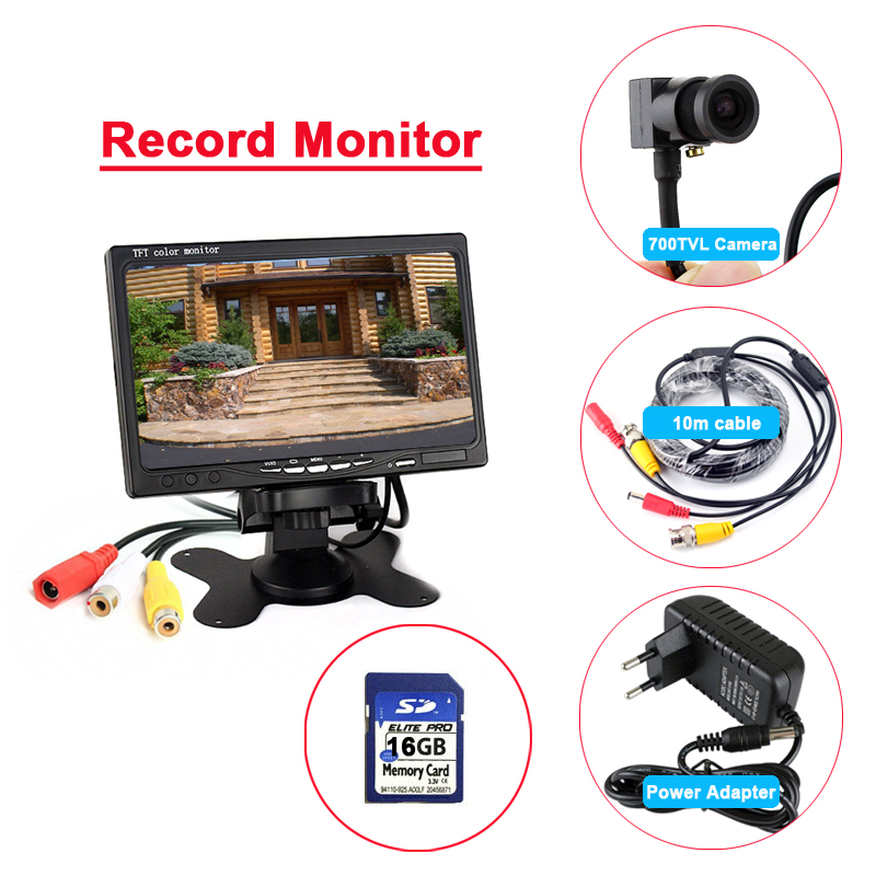 7inch record monitor system with 700TVL mini camera + 16GB Memory card + 10m cable + power adapter7inch record monitor system with 700TVL mini camera + 16GB Memory card + 10m cable + power adapter