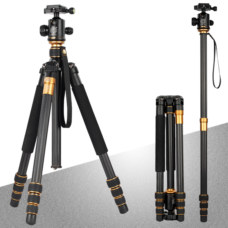 QZSD Q-999 The Shortest Folded length Professional Portable Magnesium Aluminum Alloy Tripod Monopod with Detachable Ball Head pro portable aluminium alloy tripod monopod qzsd 02 ball head pocket kit q999 q 999