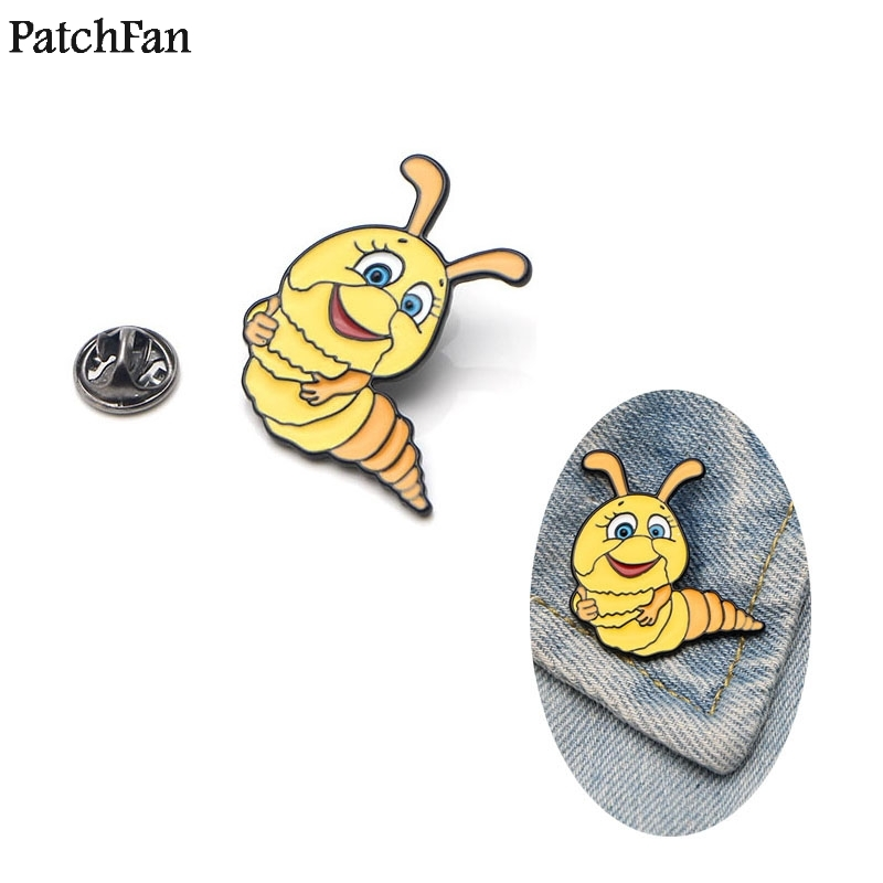 Delicious 20pcs/lot Patchfan Caterpillar Zinc Tie Cartoon Funny Pins Backpack Clothes Brooches For Men Women Hat Decoration Badges A1113 Badges Apparel Sewing & Fabric