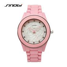 Sinobi moda relógios de pulso das mulheres relógio de diamantes prego fêmea flor rosa de cerâmica de quartzo-relógio à prova d' água senhora relojes 2017 f95
