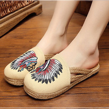 hemp creative ethnic embroidered shoes female lazy slippers womens casual breathable spring summer