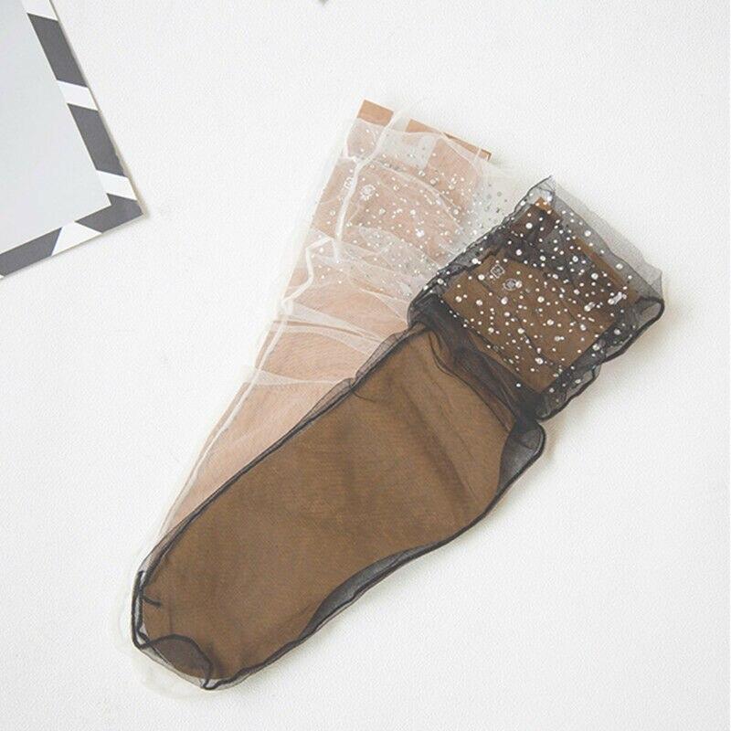 Women Socks Transparent Glitter Crystal Silk Lace Elastic Short Ankle Socks Elegant Ladies Rhinestone Sock See Through Mesh Sock