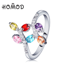 HOMOD Silver Color Sparkling LEAVES SILVER RING WITH CUBIC ZIRCONIA for Women Jewelry JB0008