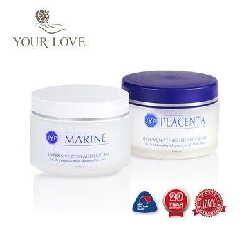 100% Nueva Zelanda colágeno marino nutritiva crema de día + ovejas Placenta noche cara crema conjuntos regenerador intensivo crema de tratamiento