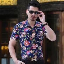 Mens Shirts Flower Camisa masculina Hawaiian Shirt Male Short sleeve Fashion Summer Casual Floral Blouse Men цена