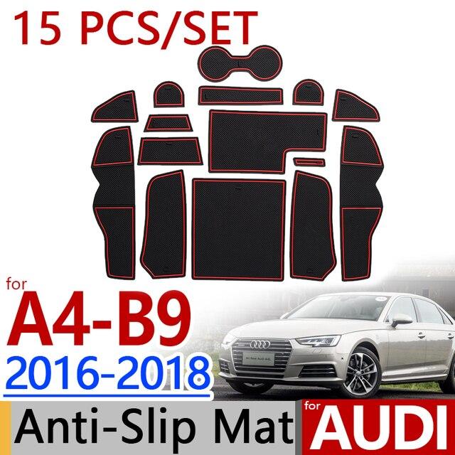 Rubber Matten Audi A4.For Audi A4 B9 2016 2017 2018 Anti Slip Rubber Cup Cushion Door Mat