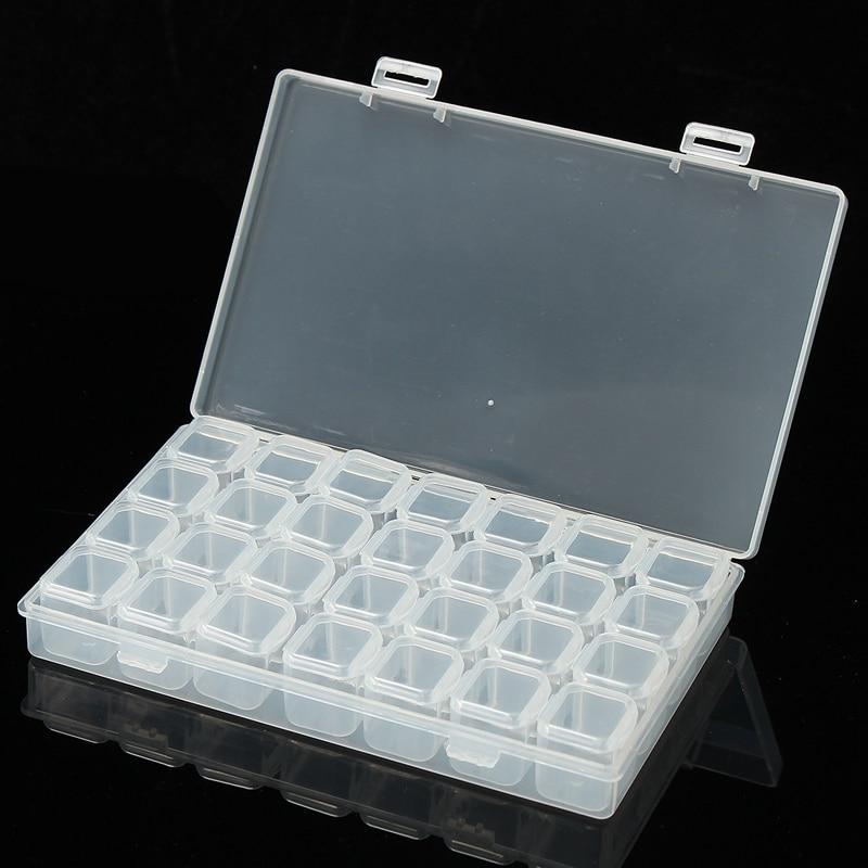 Nail Art Organizer: KiWarm 28 Slots Plastic Boxes Nail Art Tools Jewelry