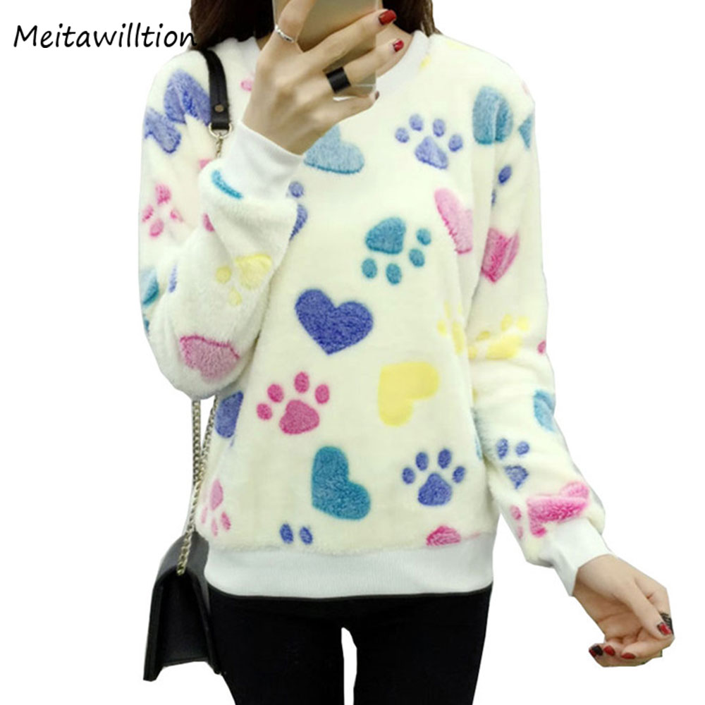 Cute Heart Harajuku Christmas Women Sweater 2017 Fashion Winter Wool Pullover Cashmere Kniyyed Sweater Warm Flannel Tops