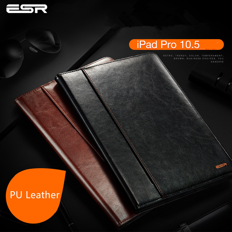 цена на ESR Premium PU Leather Case for iPad Pro 10.5 Cover Business Folio Stand Pocket Auto Wake Smart Cover case for iPad Pro 10.5