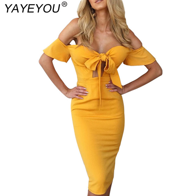 9124177014b YAYEYOU Off Shoulder Flare Sleeve Bow Tie Front Bustier Bodycon Dress  Strapless Pencil Women Midi Dresses Without Belt