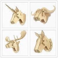 פאזל עץ 3D בעלי החיים קיר ראש תליית מתנות יצירתי DIY MDF דיקט Unicorn ראש לעיצוב בית אמנות אמנות קיר קישוט
