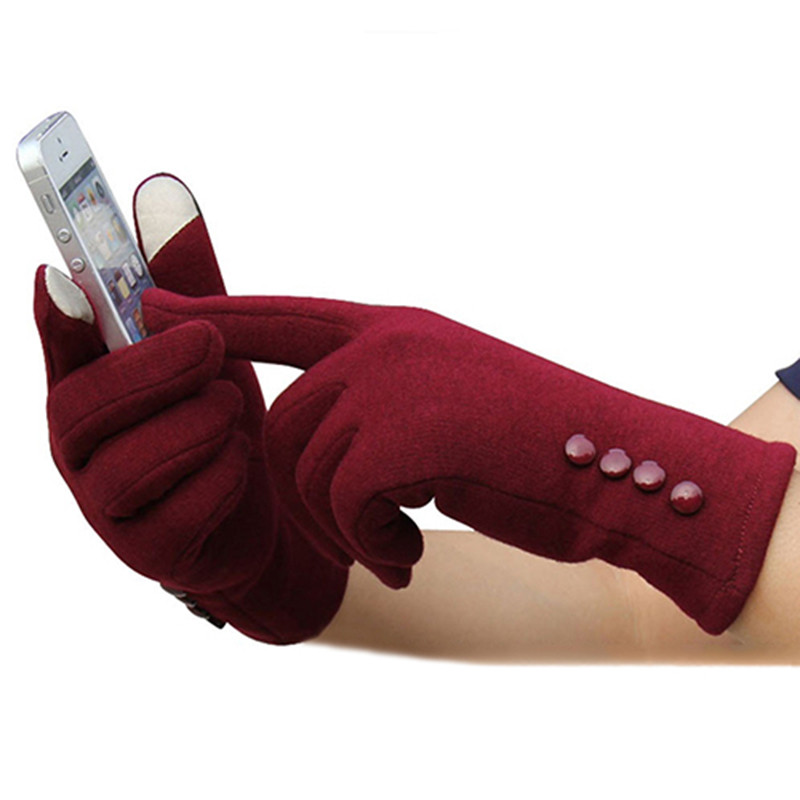 1 Pair Women Fashion Touch Screen Outdoor Sport Winter Warm Buttons Gloves for Women Touch Screen