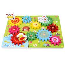 Деревянная Шестерня для животных, комбинация, вращающееся зубчатое колесо, детские развивающие игрушки, взаимодействие с глазами, Детская забавная игрушка-головоломка C63C