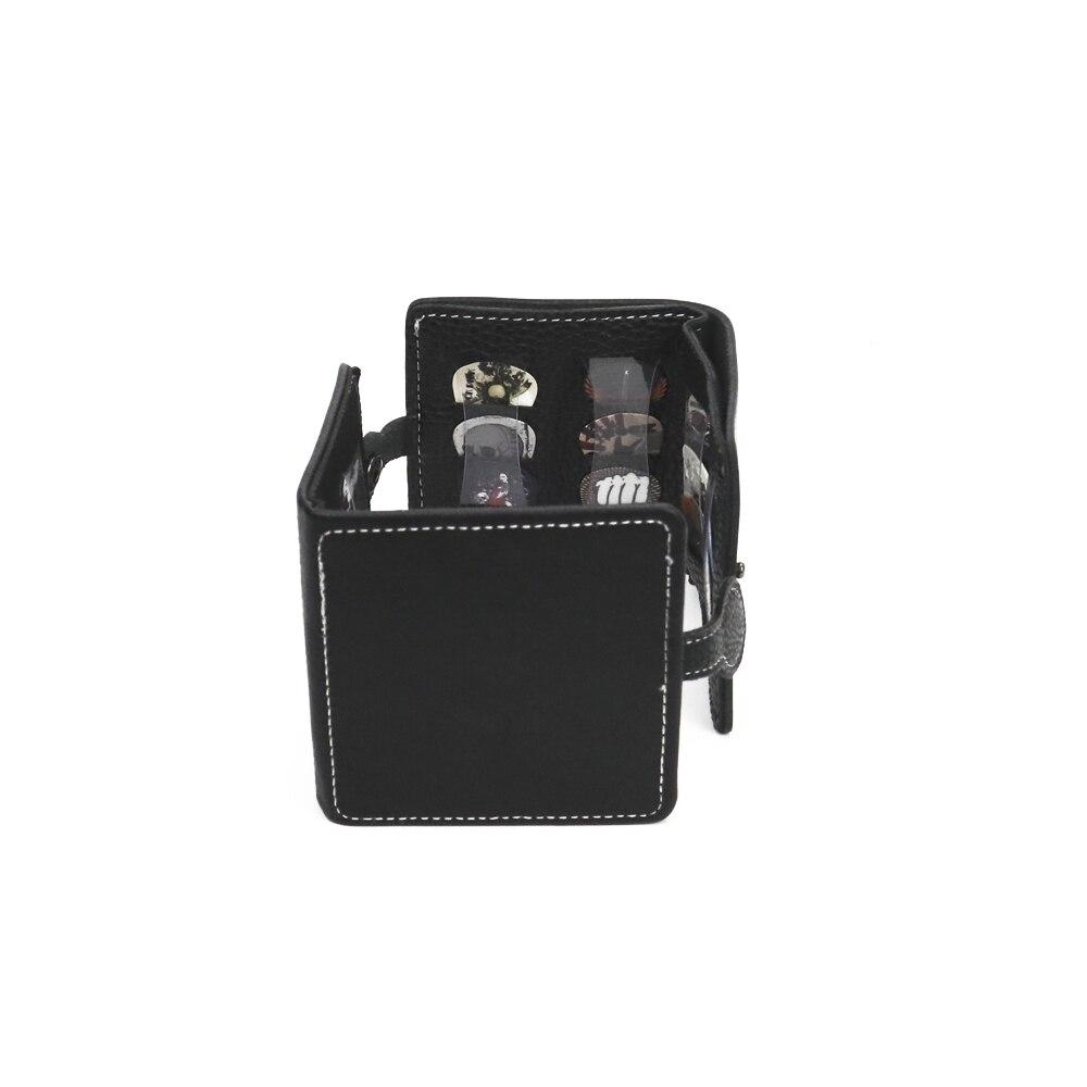 Portable 12PCS Rock Style Plectrum Bass Guitar Picks With Leather Magnetic Button Wallet Bag Case
