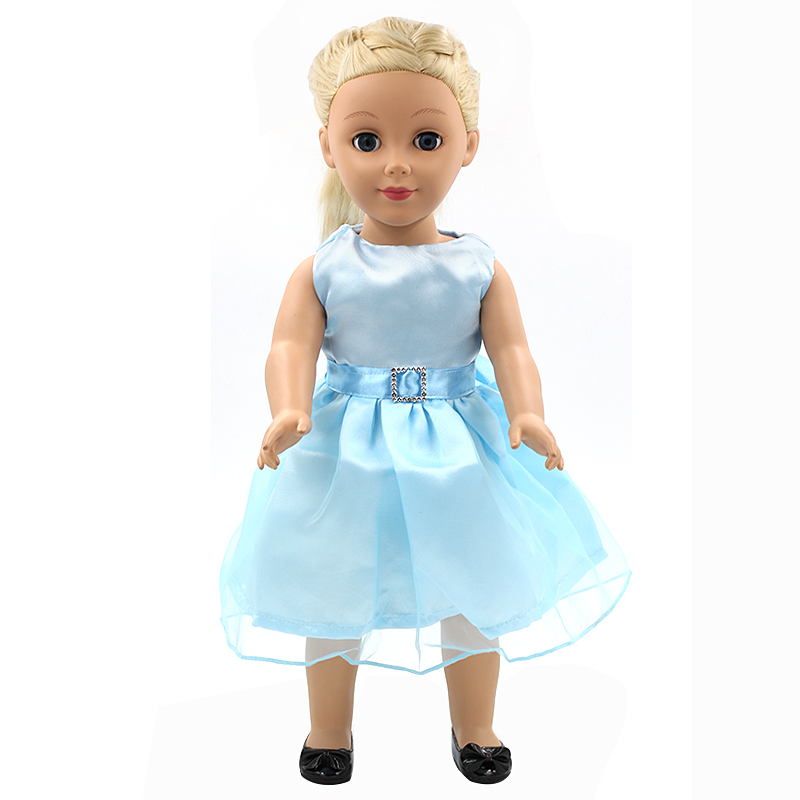 Stock 15 styles Princess Dress Doll Clothes fit 43cm Baby Born Doll Fashion Blue Dress and Accessories for kids MG107