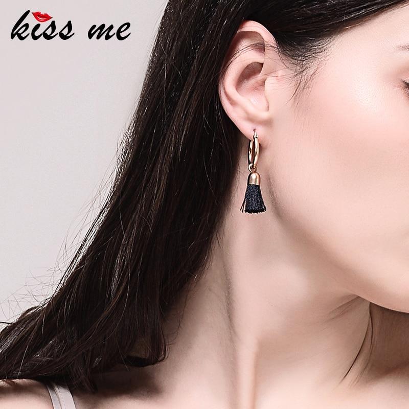 Kiss me 2 renkler siyah kırmızı püskül küpe yeni marka bakır - Kostüm mücevherat - Fotoğraf 2