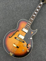 Jazz Semi Hollow Body Electric Guitar,Thick Archtop Guitar, White Pearl Binding jazz guitr Gold hardware,Flame Maple on back
