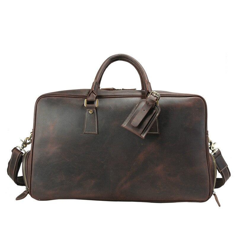Hommes vintage crazy horse en cuir voyage sac en cuir Véritable voyage duffle vachette grand sac fourre-tout Grand sac de messager