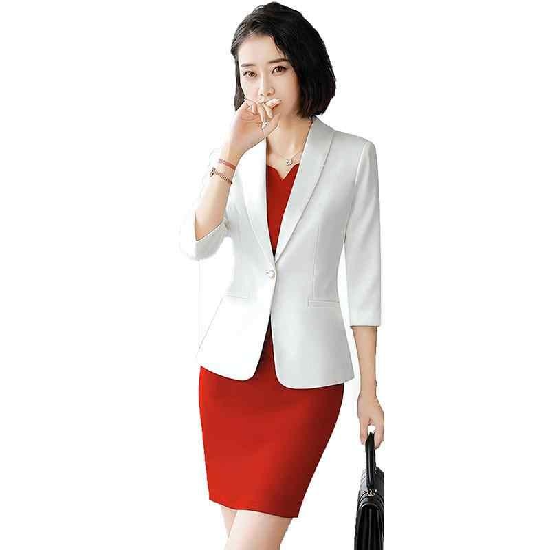 オフィスレディフォーマルドレススーツビジネス女性のカジュアル固体ブレザーコート + スリムミニドレス 2 点セット女性エレガントなスーツ W9