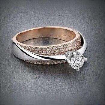 טבעת כסף רוז וקריסטל