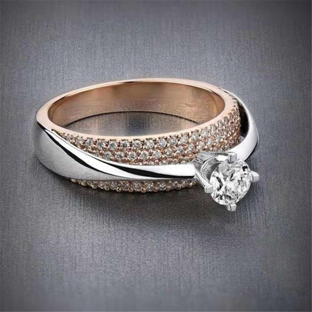 New Fashion Stainless Steel Ring Silver Rose Gold Rings for Women Female Party Jewelry Zircon Finger Ring Anillos Mujer Bague
