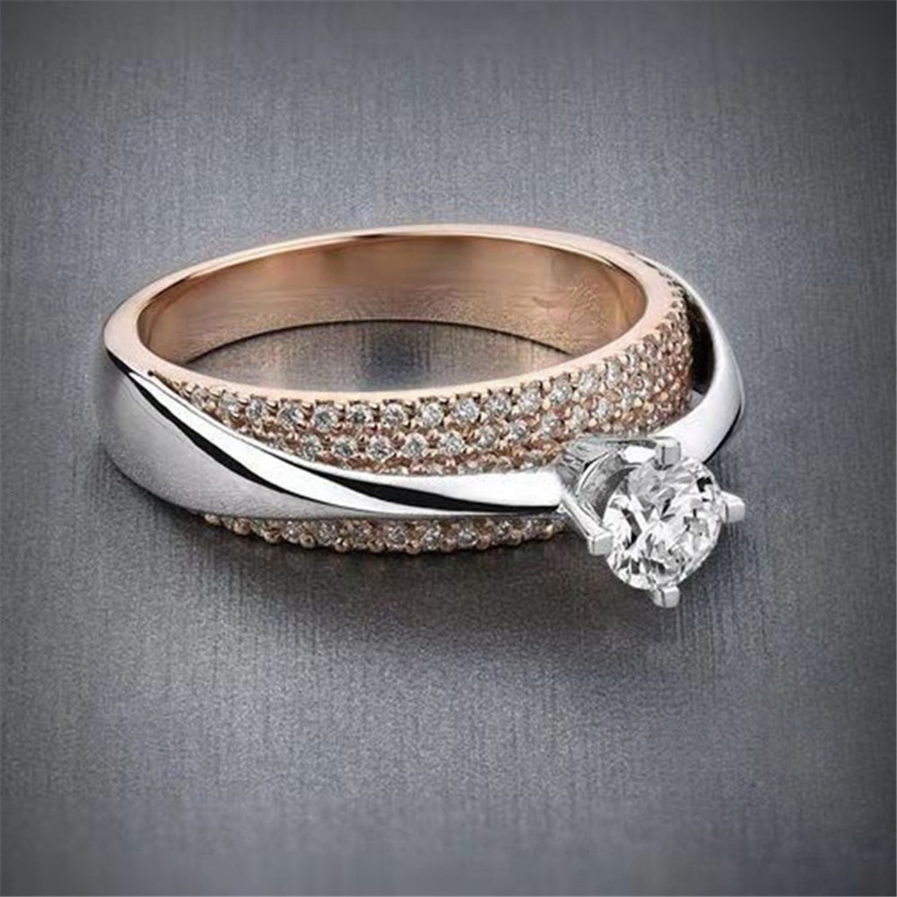 New Fashion Stainless Steel Ring Silver Rose Gold Rings for Women Female Party Jewelry Zircon Finger Ring Anillos Mujer Bague in Engagement Rings from Jewelry Accessories