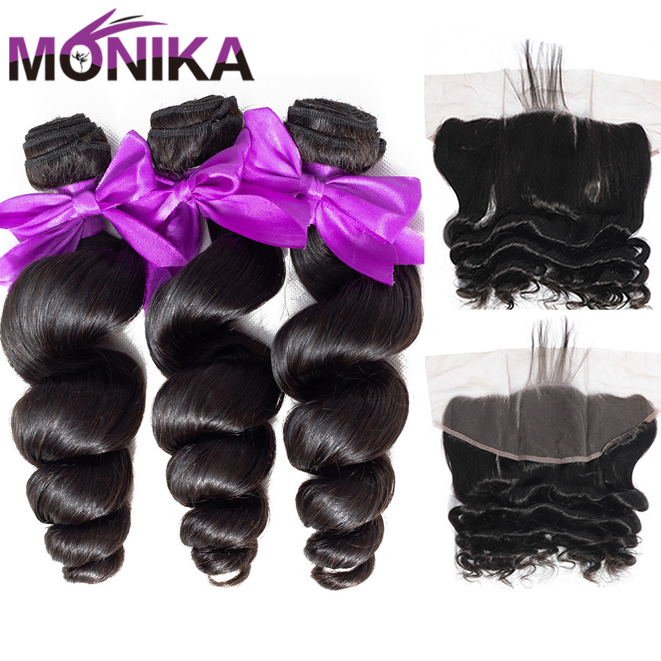 Monika Loose Wave Bundles With Frontal Closure Cambodian Hair Frontal And Bundles Non-Remy Human Hair Lace Frontal With Bundles