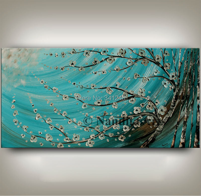 NEW Hand painted modern home decor wall art picture white flower brich tree thick paint palette