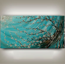 NEW Hand-painted modern home decor wall art picture white flower brich tree thick paint palette knife oil painting on canvas