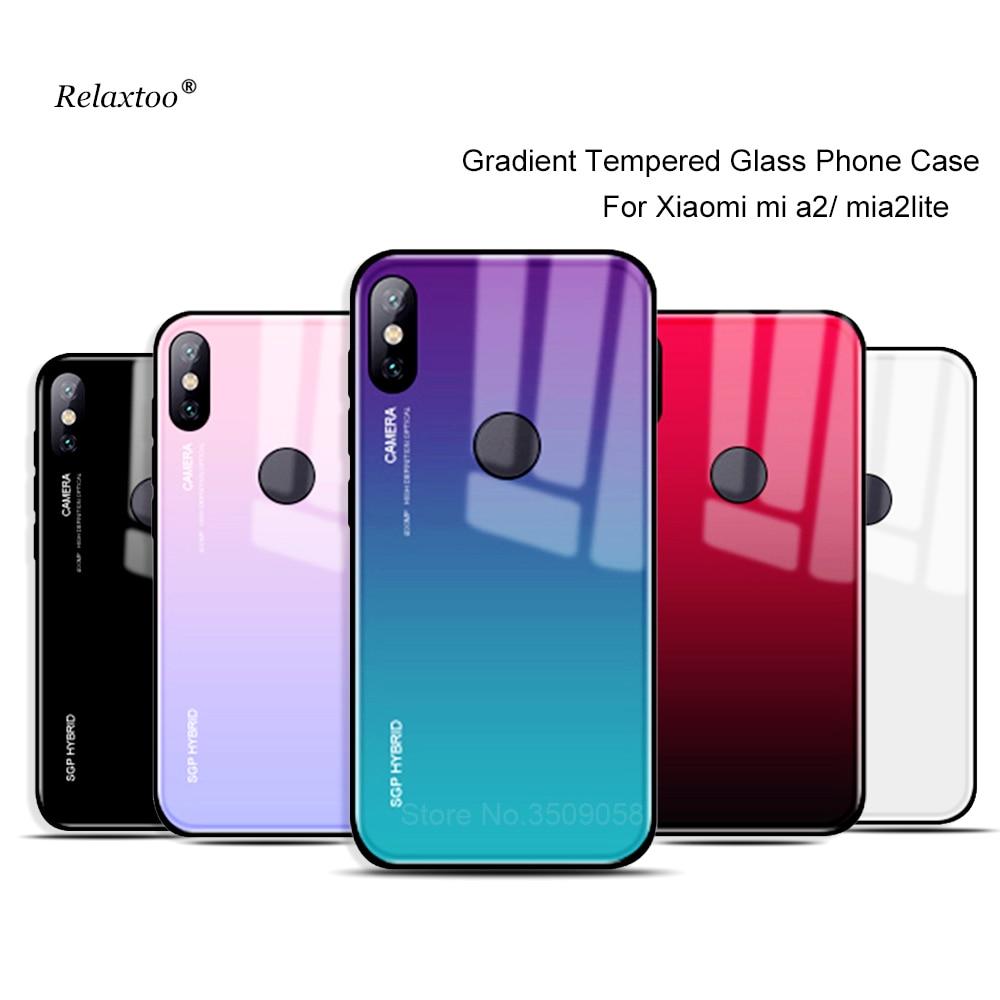più foto 522be a85dc US $2.48 41% OFF|Gradient Tempered Glass phone case For xiaomi mi 8 a2 lite  a2lite 8lite Cover shell on xiomi mi8 mia2 light mi8lite coque capa-in ...