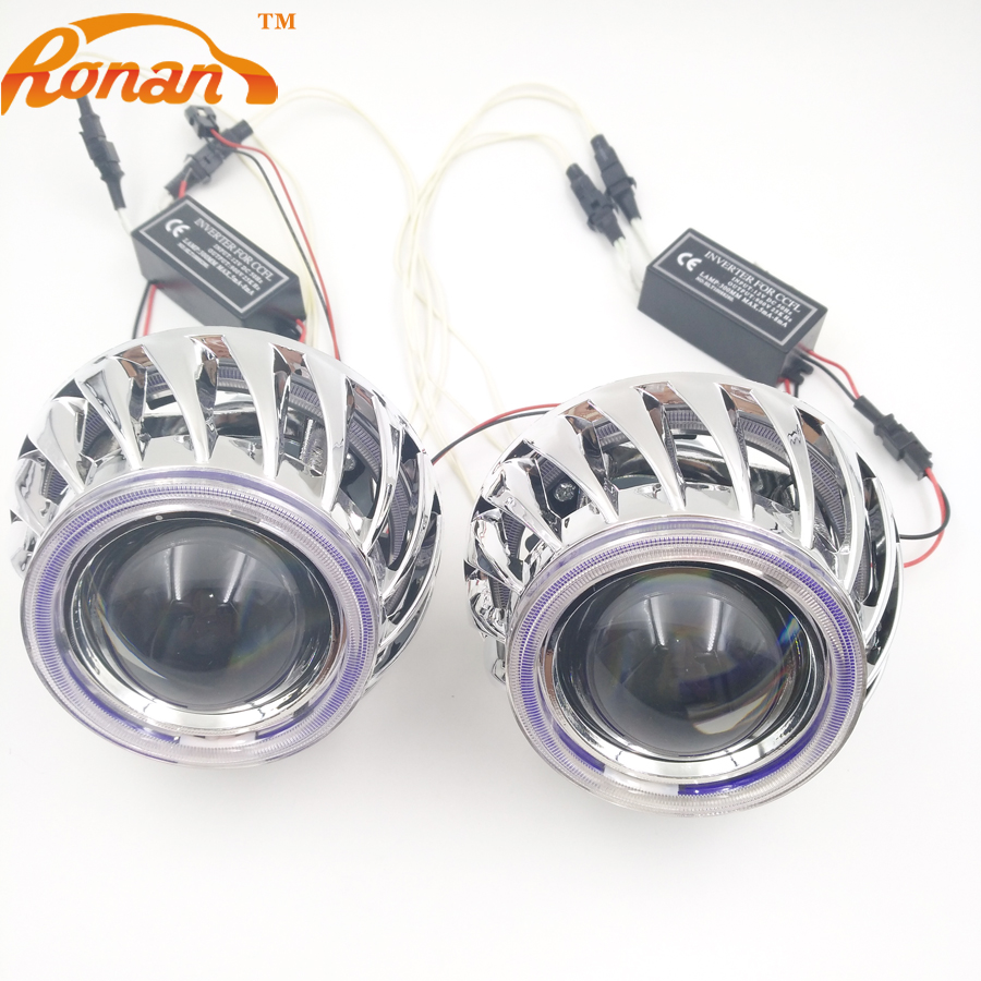 RONAN 2.5 Double Angel Eyes CCFL Bi-xenon HID Projector headlight Lens LHD RHD use bulb H1 with H4 H7 adapter car styling lhd 3 inch hid bixenon projector lens double angel eye ccfl h7 h4 2pcs 35w slim ballasts 4300k 6000k 8000k use h1 xenon bulb