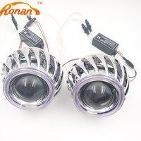 Ronan 2.5 doble Ángel Ojos CCFL bi-xenón HID proyector faro lente LHD RhD uso bombilla H1 con H4 h7 adaptador car styling