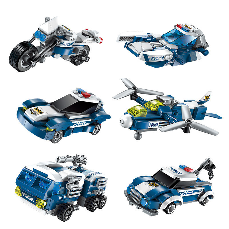 6 In 1 City Police Series Building Blocks Kids Assembling SWAT Aircraft Car Robot Toy Block Compatible with Legoed for Children