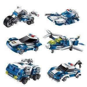 Image 2 - 6 In 1 Stadt Polizei Serie Bausteine Kinder Montage SWAT Aircraft Auto Roboter Spielzeug Block Kompatibel mit Legoed für kinder