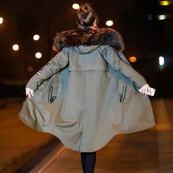 KMETRAM Duck Down Jacket Woman Hooded Winter Jacket Women Raccoon Fur Collar Long Trench Autumn Coat Female Parkas Mujer 2019 MY
