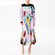 European American Style 2019 Autumn Winter Women New Fashion Design High Quality Knitted Sweater+Drapped Skirt TWINSET