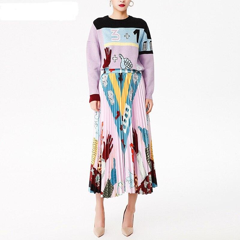 Style européen américain 2019 automne hiver femmes nouveau Design de mode chandail tricoté de haute qualité + jupe drappée TWINSET