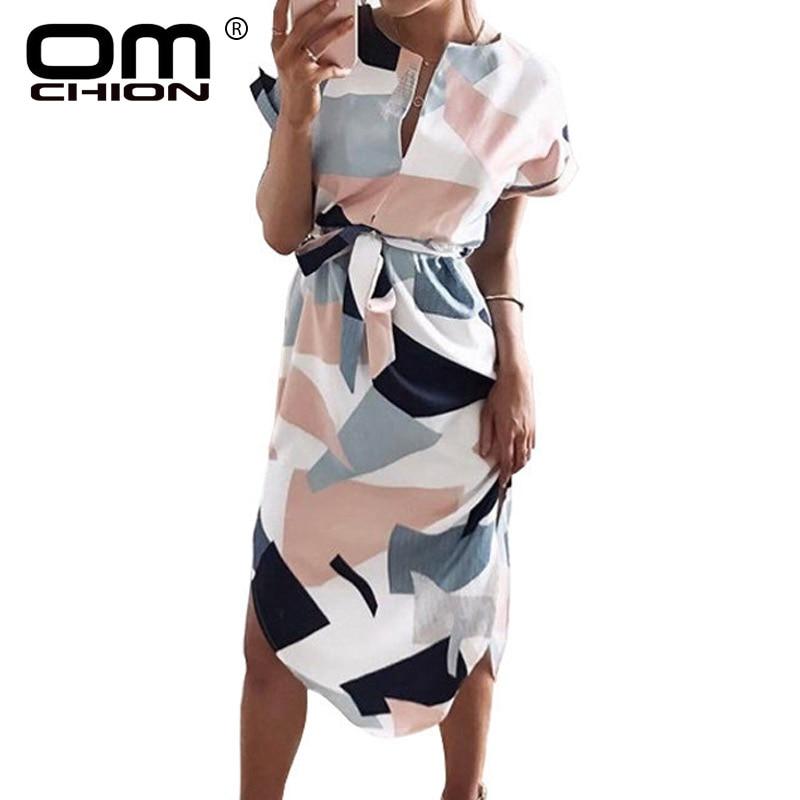 OMCHION Plus méret 2018 nyári ruha női rövid ujjú virágos geometriai Bodycon ruha V nyak kötés alkalmi hosszú ruhák TDR223
