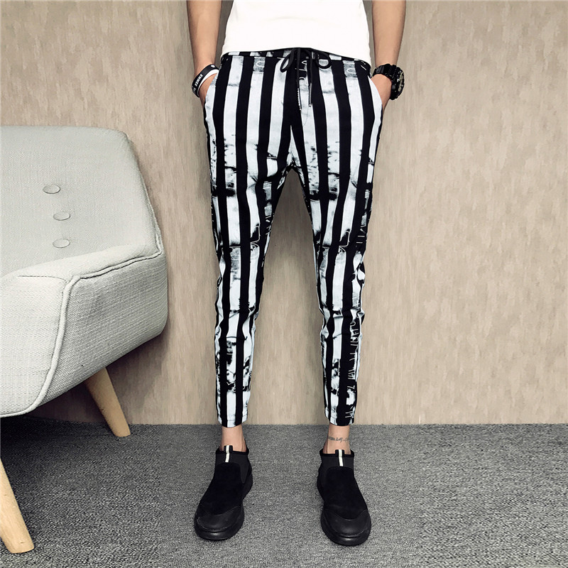 Black And White Striped Trousers Men's Summer Slim Casual Drawstring Harem Pants Wild Street Men's Casual Pants 2019 Men's Pants