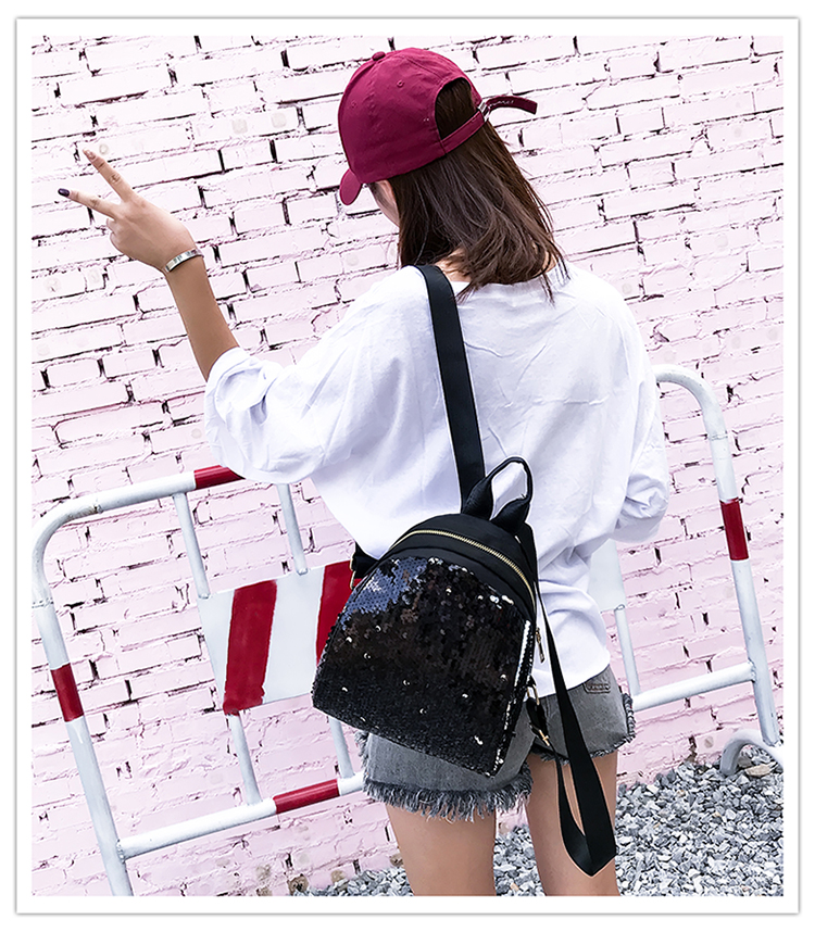 Backpacks women Korean mini 2018 new sequined shell fashion trend women go with small backpacks travel backpack 86