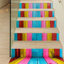 1 Roll of DIY Steps Sticker Removable Rainbow Wood StairCase Stickers Ceramic Tiles Patterns Sticker Decoration Newly R40627(China)