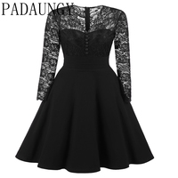 PADAUNGY Vintage Hollow Out Patchwork Christams Dress Sexy See Through Tunic Club Bridesmaid Mother Of Bride