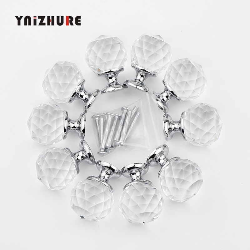30mm 10Pcs Crystal Ball+Zinc Alloy Furniture Cupboard Wardrobe Cabinet Drawer Dresser Door Pulls Knobs Handles With Screw